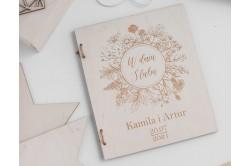 drewniana kartka na ślub
