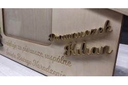 Drewniana ramka dla babci i dziadka pod choinkę