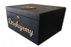 Czarne pudełko na koperty na ślub