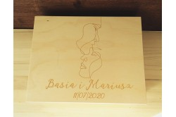 Drewniana szkatułka z grawerem na ślub