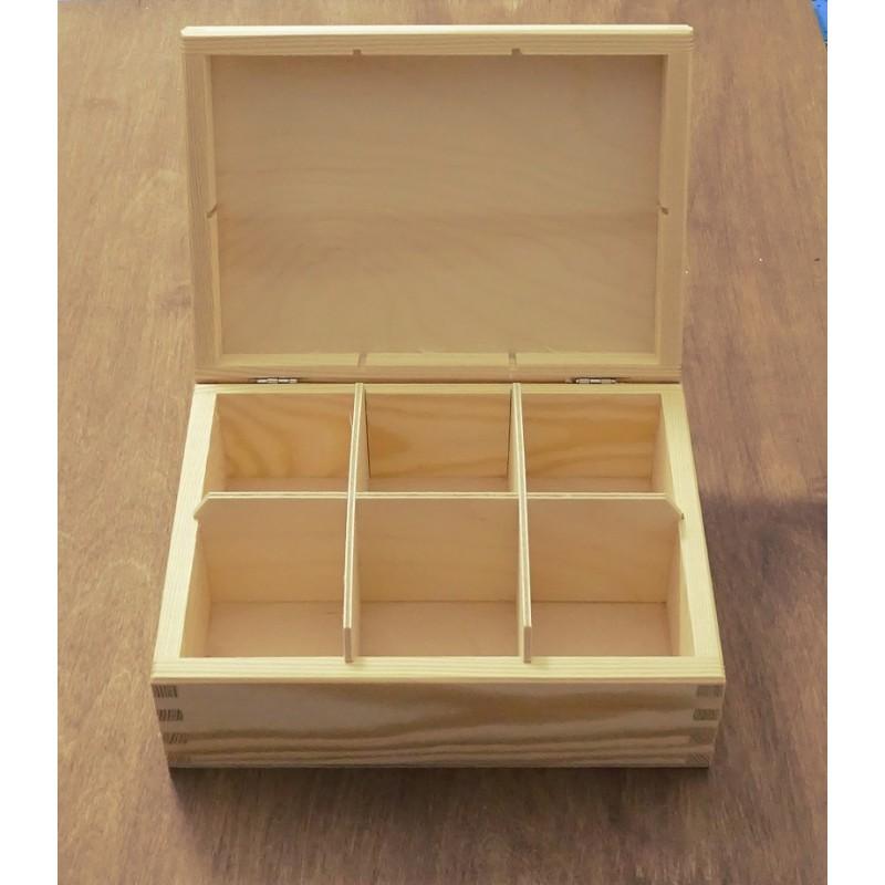 Drewniane pudełko - 6 przegródek