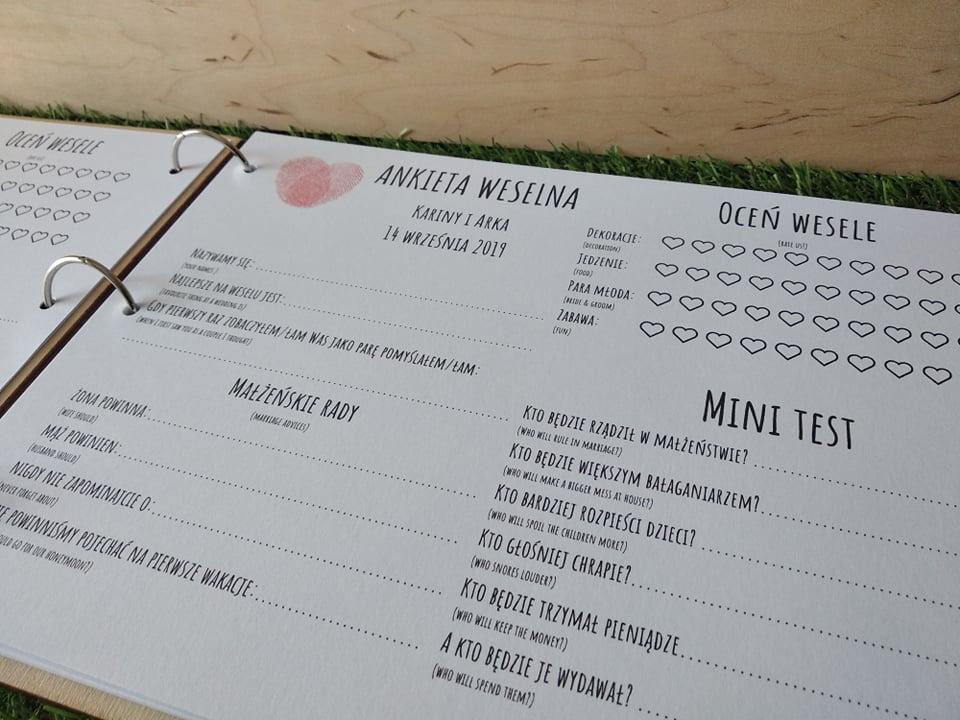 Księga gości z ankietami - białe kartki